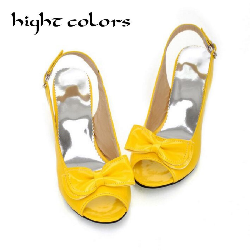 Fashion Open Toe Bow Patent Leather High Heels Women Sandal Plus Size Back Strap Rome Sandals for Women Medium Heel Summer Shoes red brown tassel women sandal stilettos shoes women sandal open toe made to order plus size 14 stilettos discount dress shoe