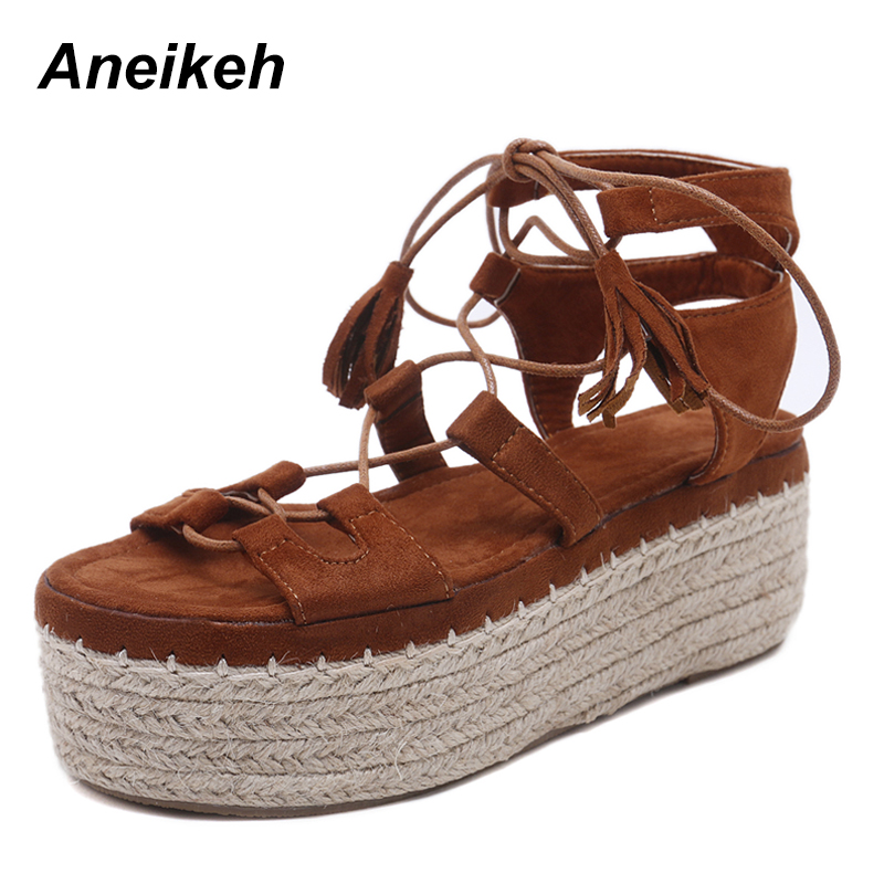 Aneikeh 2019 PU Flat With Platfrom Heels Summer Sandals Women Fashion Ladies Sexy Open toe Ankle Buckle Party Black Size 35-41Aneikeh 2019 PU Flat With Platfrom Heels Summer Sandals Women Fashion Ladies Sexy Open toe Ankle Buckle Party Black Size 35-41