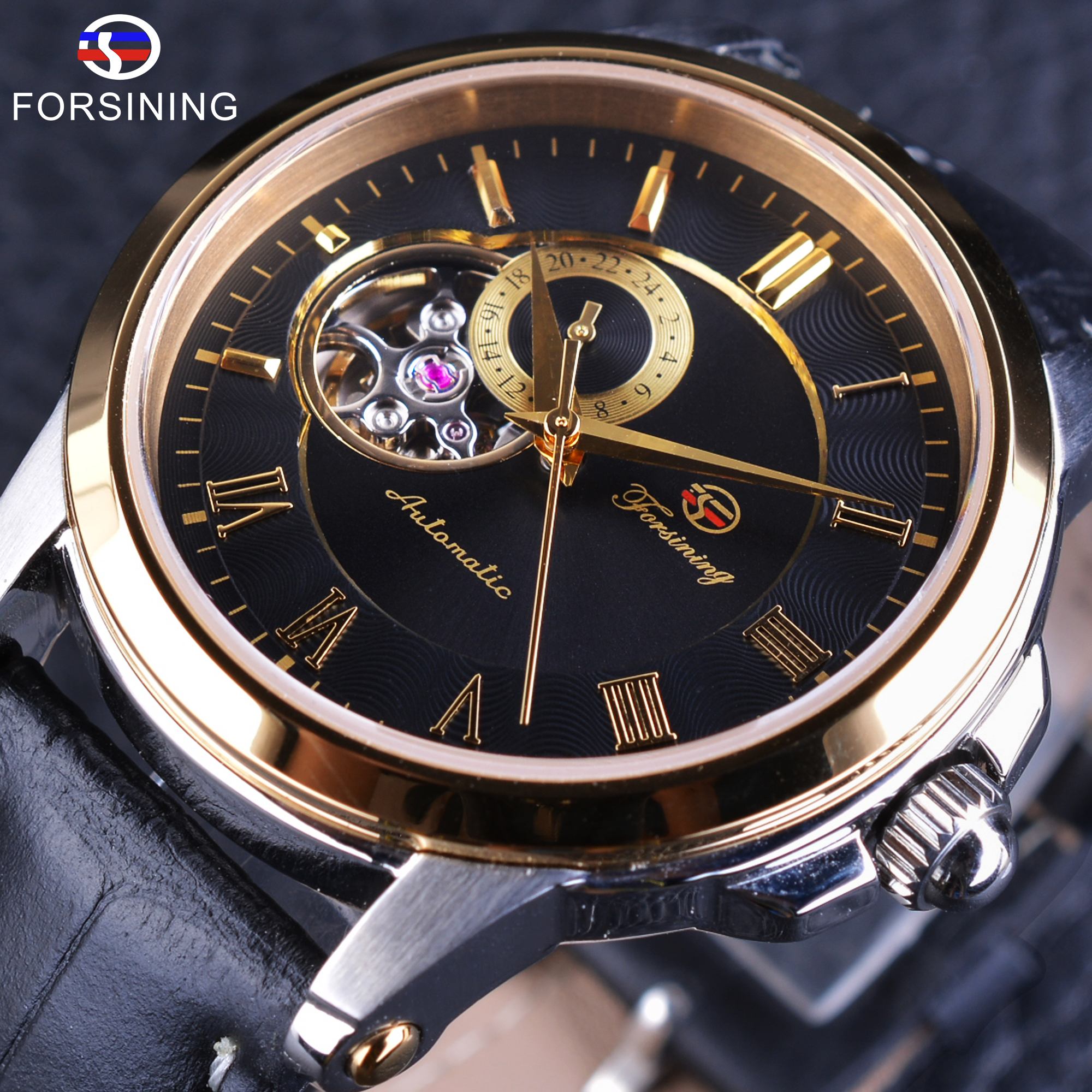 Forsining Japan Mechanical Movement Fashion Open Work Self Winding Mens Skeleton Wrist Watches Top Brand Luxury Automatic Clock forsining 3d skeleton twisting design golden movement inside transparent case mens watches top brand luxury automatic watches