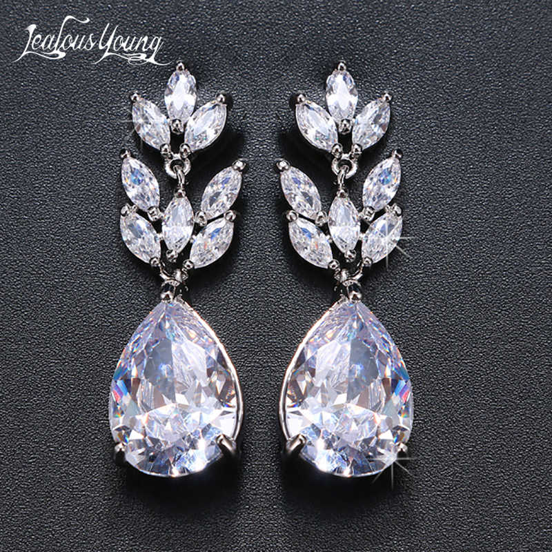 Fashion Drop Water AAA Cubic Zircon Wedding Drop Earrings Marquise Crystal White Yellow Gold Color Bride Earings Gift brinco