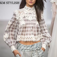 Spring 2018 New High end Small Plaid Long sleeved Shirt Women Stand Collar Stitching Lace Shirt