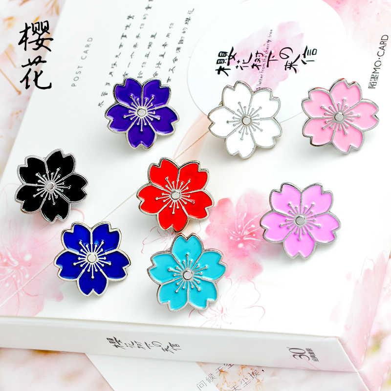 Ceri Blossoms Bunga Emas Perak Bros Jarum Tombol Pins Denim Jaket Jarum Lencana untuk Tas Gaya Jepang Perhiasan Hadiah untuk perempuan