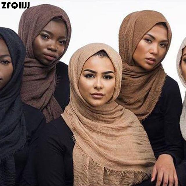 68772b8d3fc5 ZFQHJJ 180x100 cm Femmes Coton bulle plaine rides Hijab Écharpe avec  franges Populaire muffler Musulman Châles