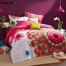 Brushed Cotton bohemian bedding sets 4pcs queen king duvet cover set bedlinen bedclothes beautiful girl
