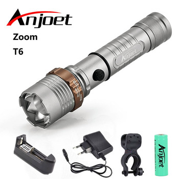 Anjoet flashlight Ultra Bright torch CREE XML-T6 LED Flashlight 5 lighting Modes 8000 lumens Zoom torch use AAA 18650 battery cree xml t6 led flashlight 8000 lumens lanterna adjustable led torch zoom tactical flashlight charger 1 18650 battery