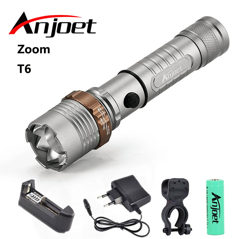 Tactical Flashlight Zoom torch waterproof XM-L T6 led 5-mode Zoomable light hunting Camp+1*18650 Battery+Charger+Bicycle Clip 10w led tactical flashlight t6 zoom torch waterproof 18650 lanternas practical light for bike lamp cheap sale
