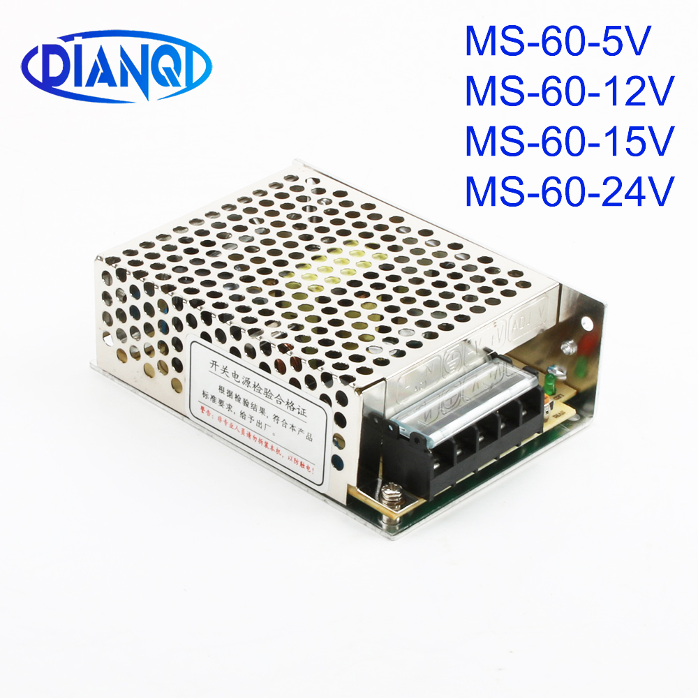 DIANQI switch power supply S-60W 24V 15V 12V 5V power suply mini size din led ac dc converter S-60-5 S-60-12 S-60-15 S-60-24 image