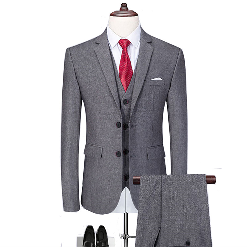 Business Men Suits 3 Piece Set (coat Vest Pants)wedding Groomsmen Suits High-end Custom Men Designer Blazer Fashion Suit Wedding