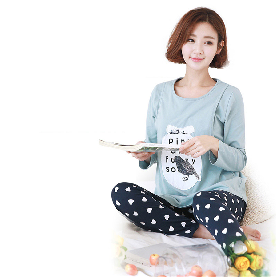 Breastfeeding Maternity Pajamas Nursing Winter Nightgown Clothes For Pregnant Women Soft Breastfeeding Pajamas Winter 60M0086 breastfeeding nursing cover lactating towel breastfeeding cloth used jacket scarf generous soft good quality maternity clothes
