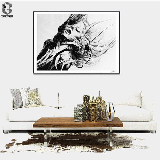 Black white girl posters and prints wall art canvas painting wall pictures for living room nordic