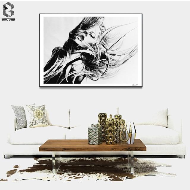 Schwarz Weiß Mädchen Poster Und Drucke Wandkunst Leinwand Malerei  Wandbilder Für Wohnzimmer Nordic Dekoration