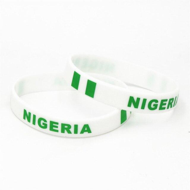 1PC Nigeria Flag Silicone Wristband Football Soccer Team Fans Sports Elastic Rubber Bracelets&Bangles Armband SH235