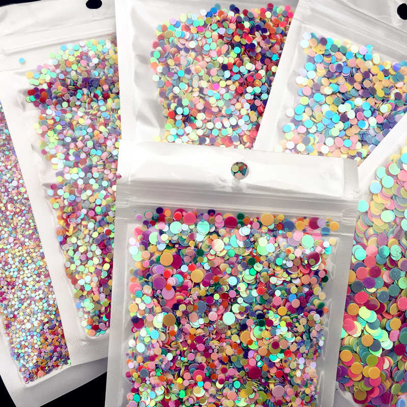 20g/Pack 1mm 2mm 2.5mm 3mm 4mm Circle Dot Shape Pvc Loose Sequins Paillettes Party Craft, Nail arts,Wedding Decoration confetti