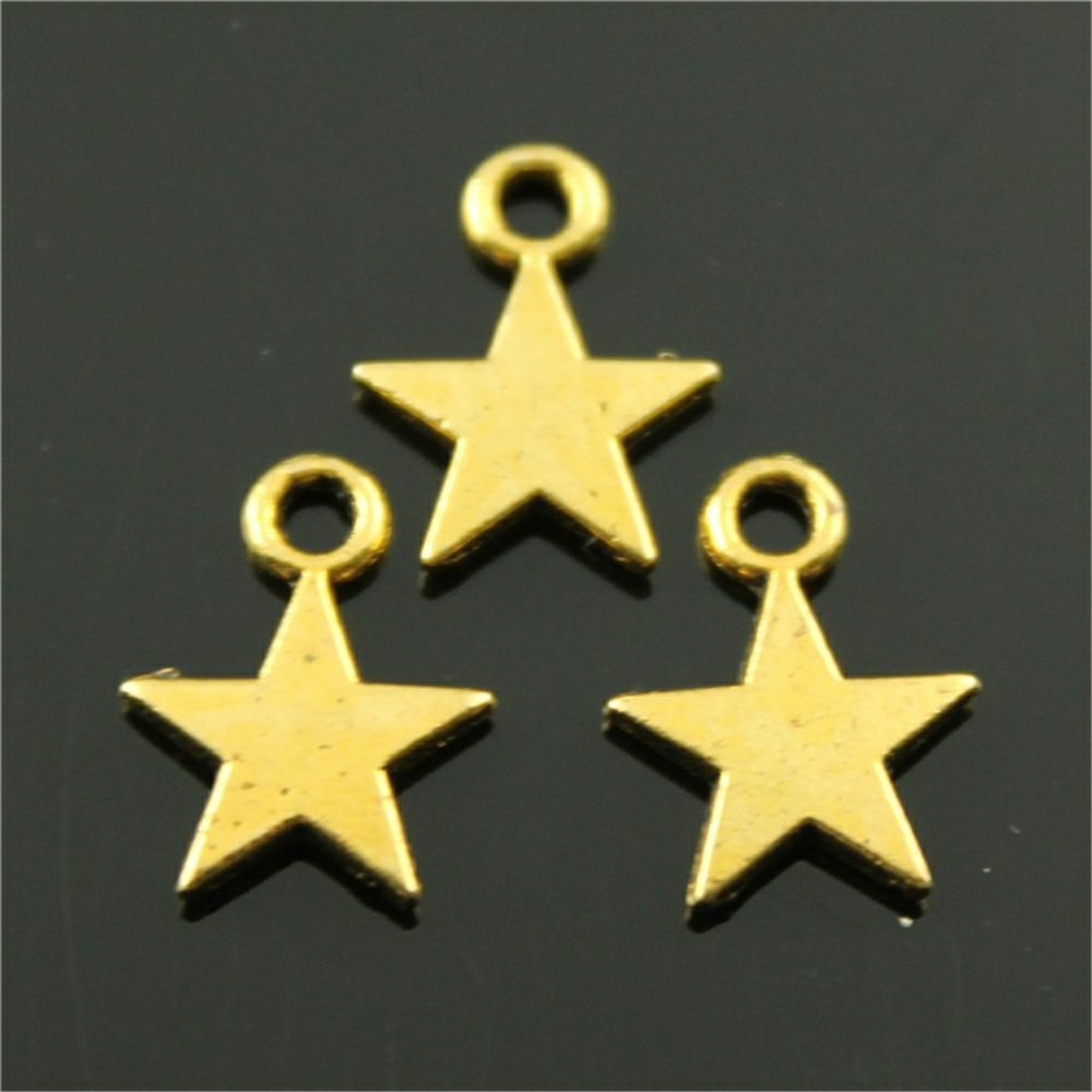 40pcs Antique Bronze, Antique Silver, Antique Gold Star Charms Lot For Jewelry Making Tiny Star Charm Star Charm 8x11mm