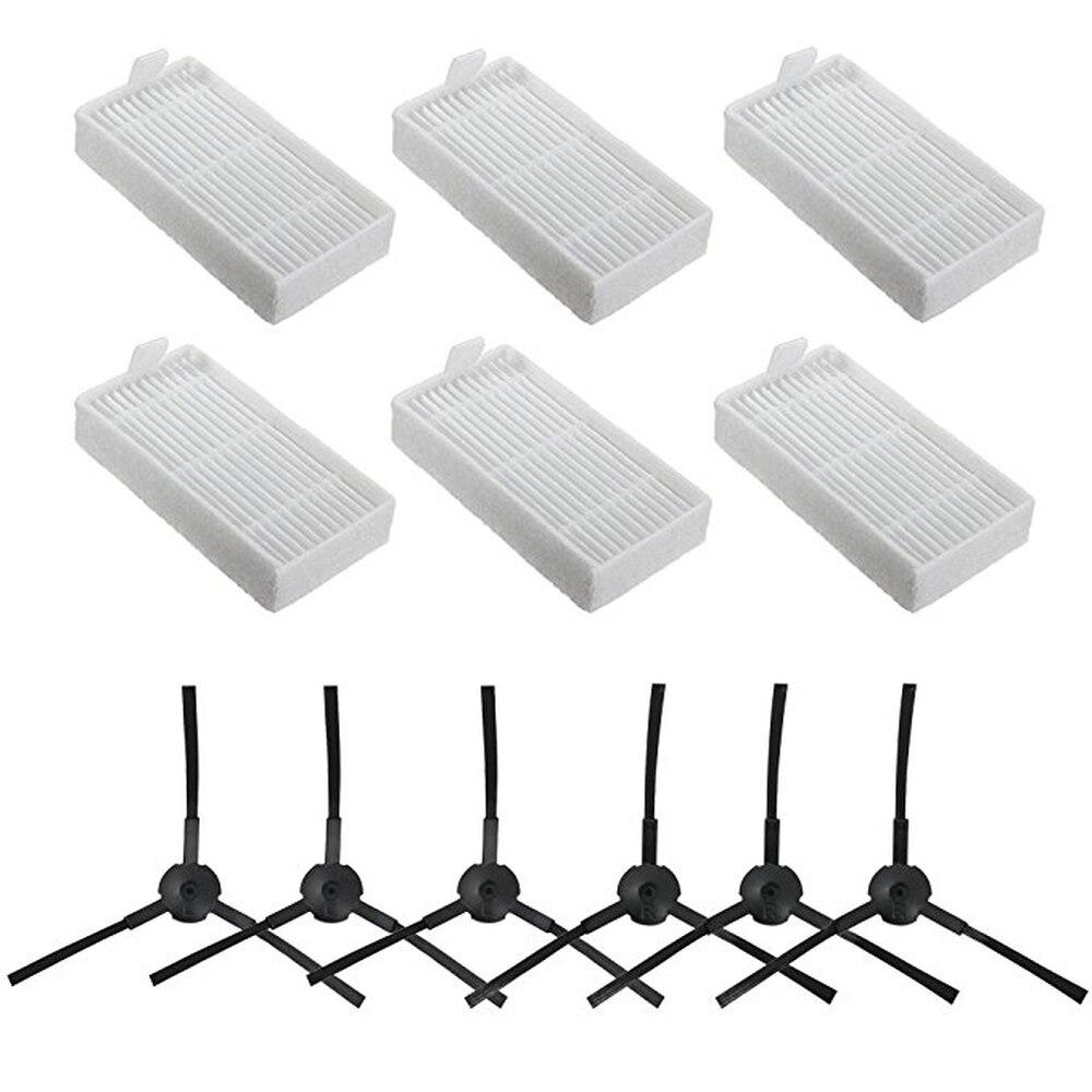 Pièces kit pour ILIFE V3 V5 V5s V3s Pro V5s Pro V50 X5 Robot Aspirateur Pièces Hepa Filtre * 6 + Brosse latérale * 6 ILIFE v55