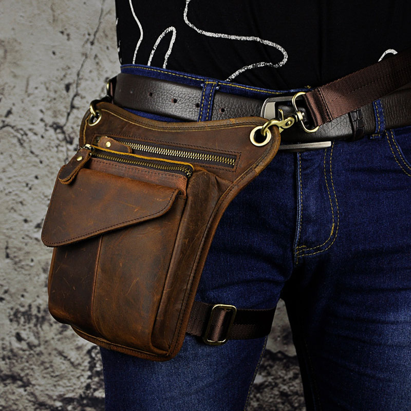 Mens Crazy Horse Genuine Leather Messenger Shoulder Bag Travel Motorcycle Riding Fanny Pack Waist Thigh Drop Leg Bag