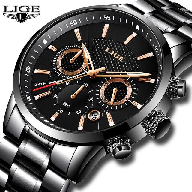 e8f5768feb7 Relojes Hombre 2018 Nova LIGE Mens Relógios Top Marca de Luxo de Negócios  de Moda Relógio