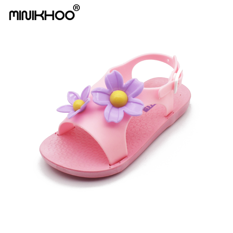 Mini Melissa 4 Color Flower Sandals Girls 2018 New Girls Shoes Melissa Breathable Melissa Toddler Beach Sandals 14cm-18cm