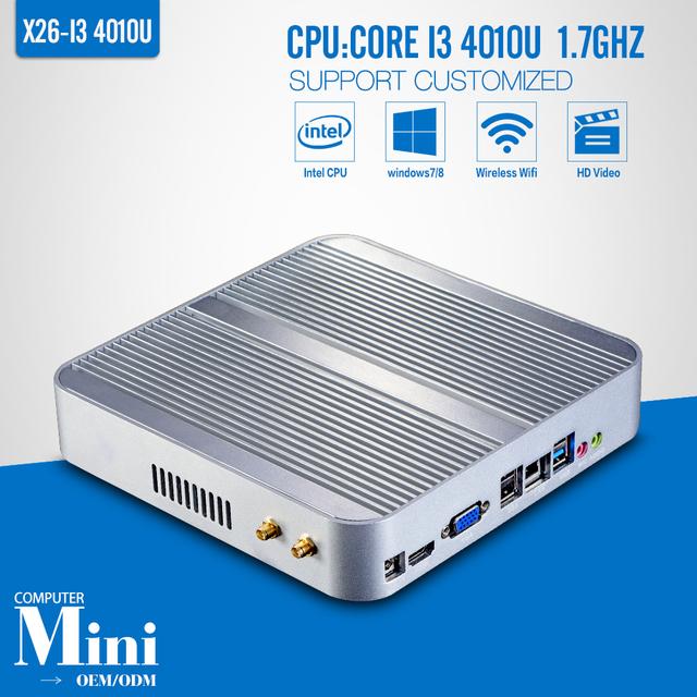 I3 4010U No ram, Ssd, Wi fi, Janela 7/8.1 Vga, Hdmi, Liga de alumínio, Computador desktop, Adaptador de energia, Mini PC