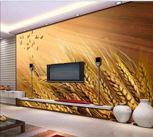 Custom photo wallpapers 3d murals wallpaper Golden harvest time of wheat and TV setting wall wallpaper for living room decor