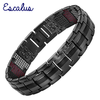 Escalus New Design Men Gun Color Titanium Bracelet 4in1 Magnets Negative Ions Germanium Far Infra Red