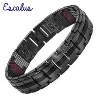 Escalus New Design Men Gun Color Titanium Bracelet 4in1 Magnets Negative Ions Germanium Far Infra Red
