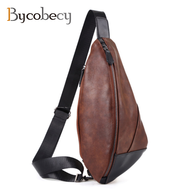 BYCOBECY High Quality Men Leather Cowhide Vintage Sling Chest Back Pack Travel Fashion Cross Body Messenger Shoulder Bag стоимость
