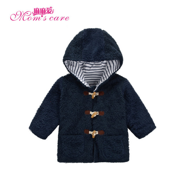 Mom's Care Coral Velvet Boy Outerwears 2-5 Years  With Horn Button inside 100% Cotton Winter Coats Children's Clothes