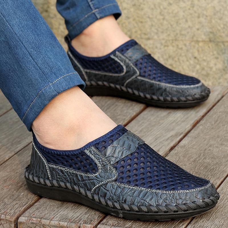 Scarpe bleu Grande Chaussures Da Printemps Noir 66 vert marron Taille 28 En Qualité Haute Mode Maille Respirant Homme Pu De Extérieure Uomo Confortable Semelle Adulte Caoutchouc Brun ZqaU8S