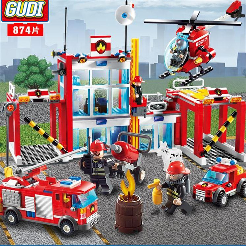 цена на GUDI City Fire Station Blocks 874pcs Bricks Helicopter Fire Truck Building Blocks Sets Models Toys For Children