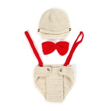 DreamShining Baby Hat Outfit Bow Knitted Newborn Photography Props Girl Boy Handmade Beanie Cap Photo Props Costumes Accessories