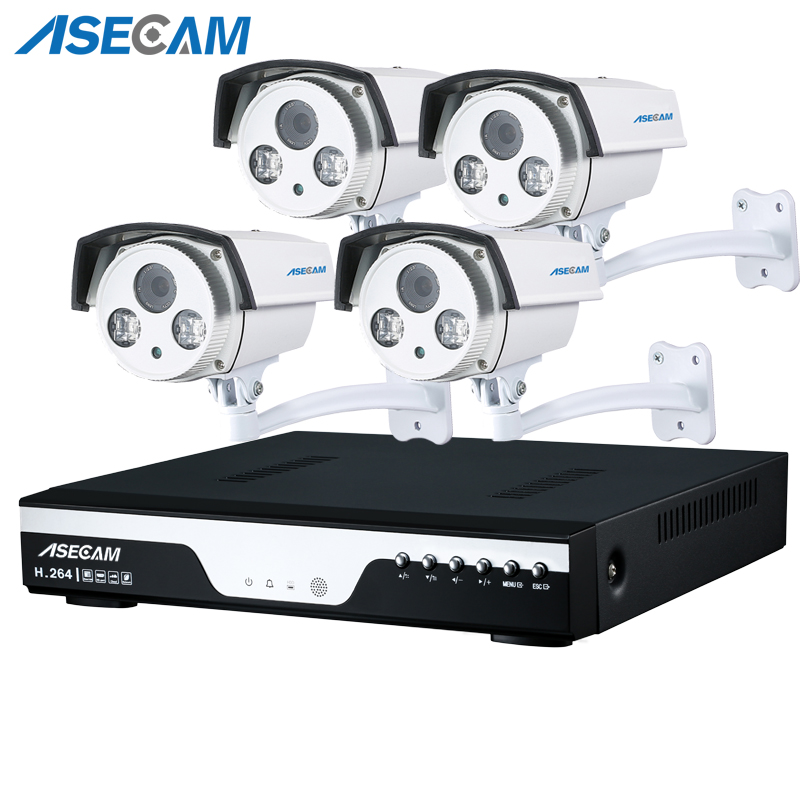 Best 4 Channel 4MP HD AHD CCTV Camera 4ch DVR Video recording Home Outdoor Array Security Camera System Kit Surveillance P2P image
