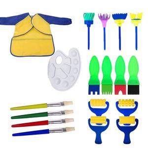 18 unids/set niños DIY arte artesanía Aprendizaje Temprano juego de herramientas de dibujo con esponja pinceles delantal ropa paleta pintura bandeja