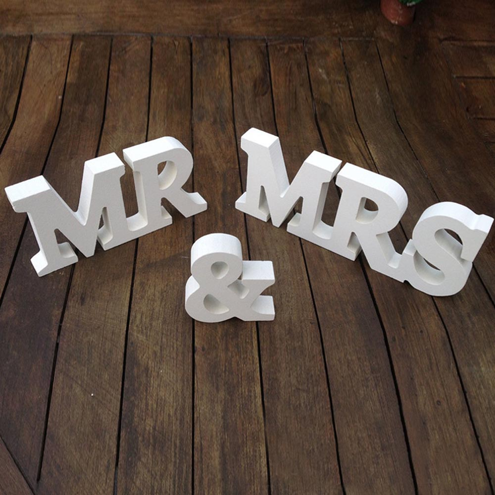 mr and mrs mdf wooden capital letters display model home room wedding table decoration gift white