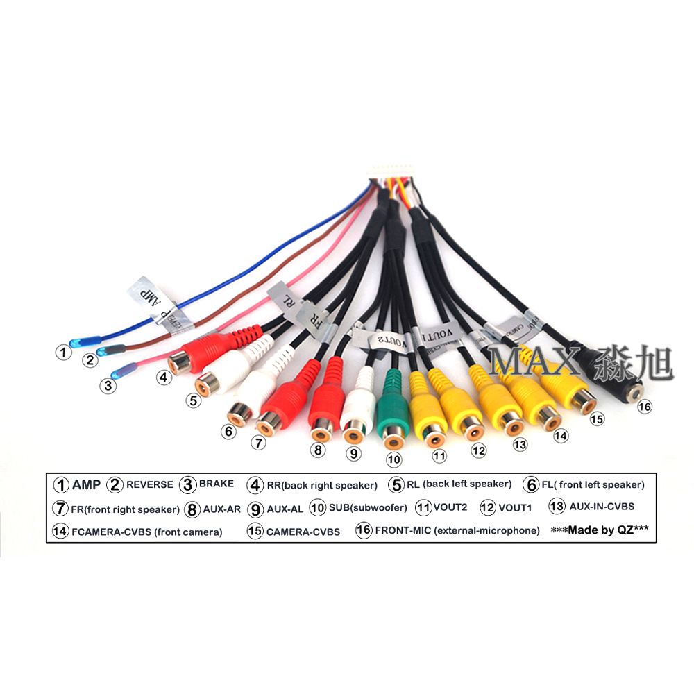 20 Pins RCA Cables Car Wires For Android Car Dvd Player And Car Radio Auto Replacement Parts