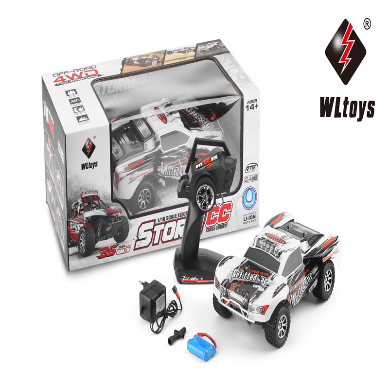 WLtoys A969-A Electric RC Car 2.4G 4WD 1/18 RC Monster Truck High Speed Off-Road Racing Remote Control Toy Silver For Kids Gifts new arrival rc car wltoys a979 1 18 2 4gh 4wd monster with high speed race toy car remote control truck trailer ready to go