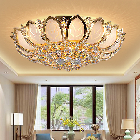 Led lotus flower gold crystal ceiling lights fixture foyer dining room bed room home lighting european