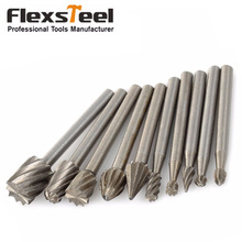 10 Pieces 1/8 HSS Routing Router Drill Bits Set Dremel Carbide Rotary Burrs Tools Wood Stone Metal Root Carving Milling Cutter 10pcs 1 8 hss wood router bits files titanium coated mini 3mm wood cutter milling fits dremel rotary set carpenter tool case