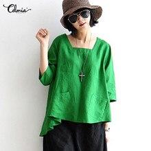 Mujeres camisetas Celmia Vintage cuello cuadrado 3 4 manga bolsillos  sólidos Lino Tops Oficina de d4cf1e927f4f