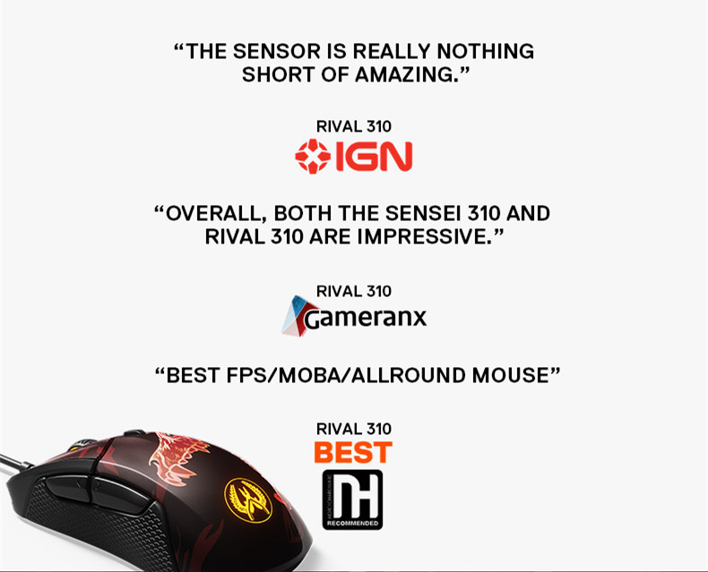 Steelseries Rival310 Game Mice Original roared HOWL CSGO Gaming Computer Mouse 3