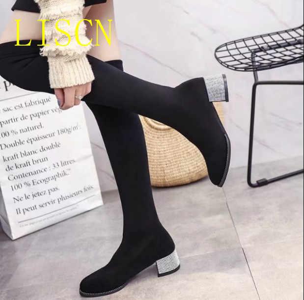 57a3df6de0dd1 ... LISCN/Новинка 2018 года, весенние эластичные сапоги-чулки, женские  черные тонкие сапоги