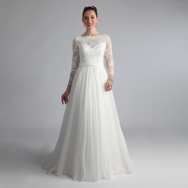 Cheap Boat Neck Vestido De Noivas 2017 Plus Size Bridal Gown Chiffon Robe Mariage Femme font