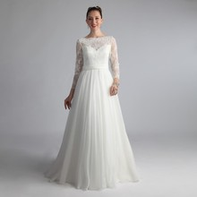 Cheap Boat Neck Vestido De Noivas 2017 Plus Size Bridal Gown Chiffon Robe Mariage Femme Wedding Dress With Sleeves KS55