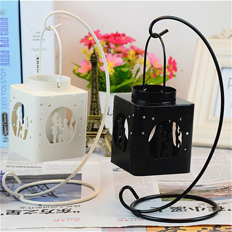 Fashion Creative AIron Square Hollow Candle Candlestick Candle Holder Hang on The Tree or Wall Home Wedding Decoration 3