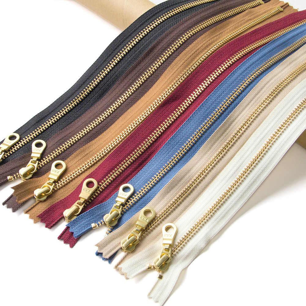 1 stücke YKK 5 # Gold Zahn Metall Zipper Close-end Auto Lock DIY Tasche Geldbörse Stiefel zipppers Bekleidungs zubehör