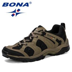 Image 4 - BONA Men Hiking Shoes Lace Up Men Sport Shoes Outdoor Jogging Trekking Sneakers Non Slip Wear Resistant Travel Shoes Comfortable