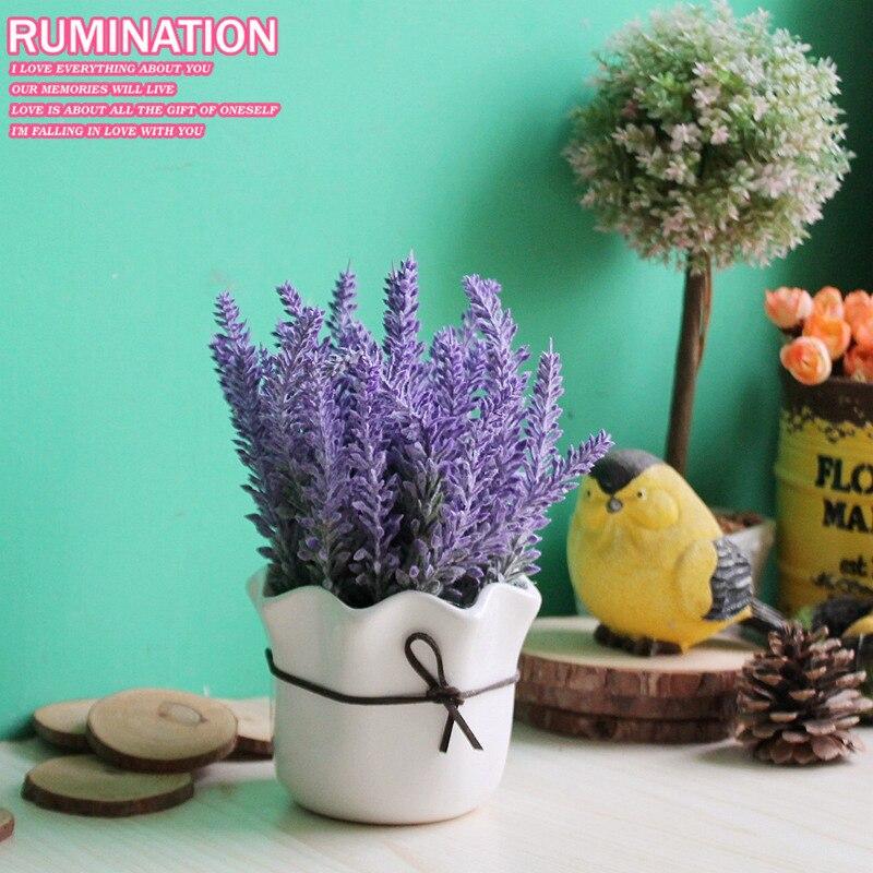 Livraison gratuite! Romantique Provence lavande avec fleur Pot bonsaï Simulation Pot de fleur la maison et salon décoration décoration murale