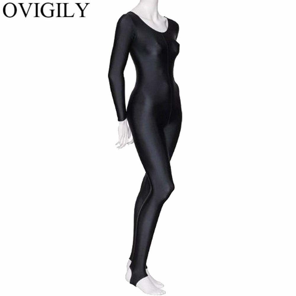 OVIGILY Women Shiny Long Sleeve Dance Unitard Stirrup Adults Spandex Gymnastics Unitard Black Full Body Dancewear Catsuits Girls