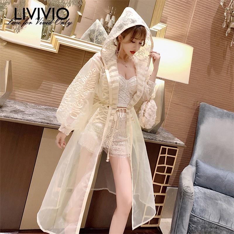 [LIVIVIO] Embroidery Long Lantern Sleeve Sheer   Trench   Coat Women 2019 Summer Streetwear Laides Windbreakers Fashion Duster New
