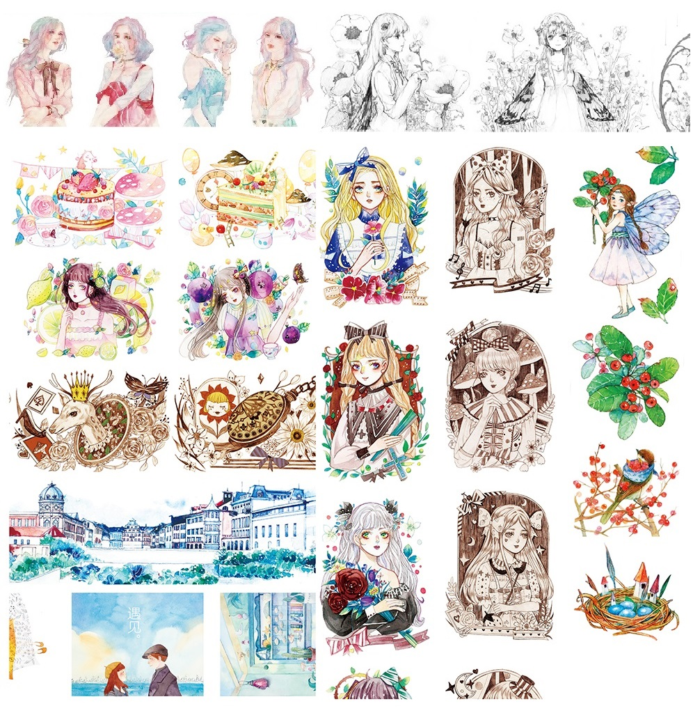 16Designs NEW!! /Girl/Barcelon/Butterfly/Feather/Cake Pattern Japanese Washi Decorative Adhesive DIY Masking Paper Tape Sticker